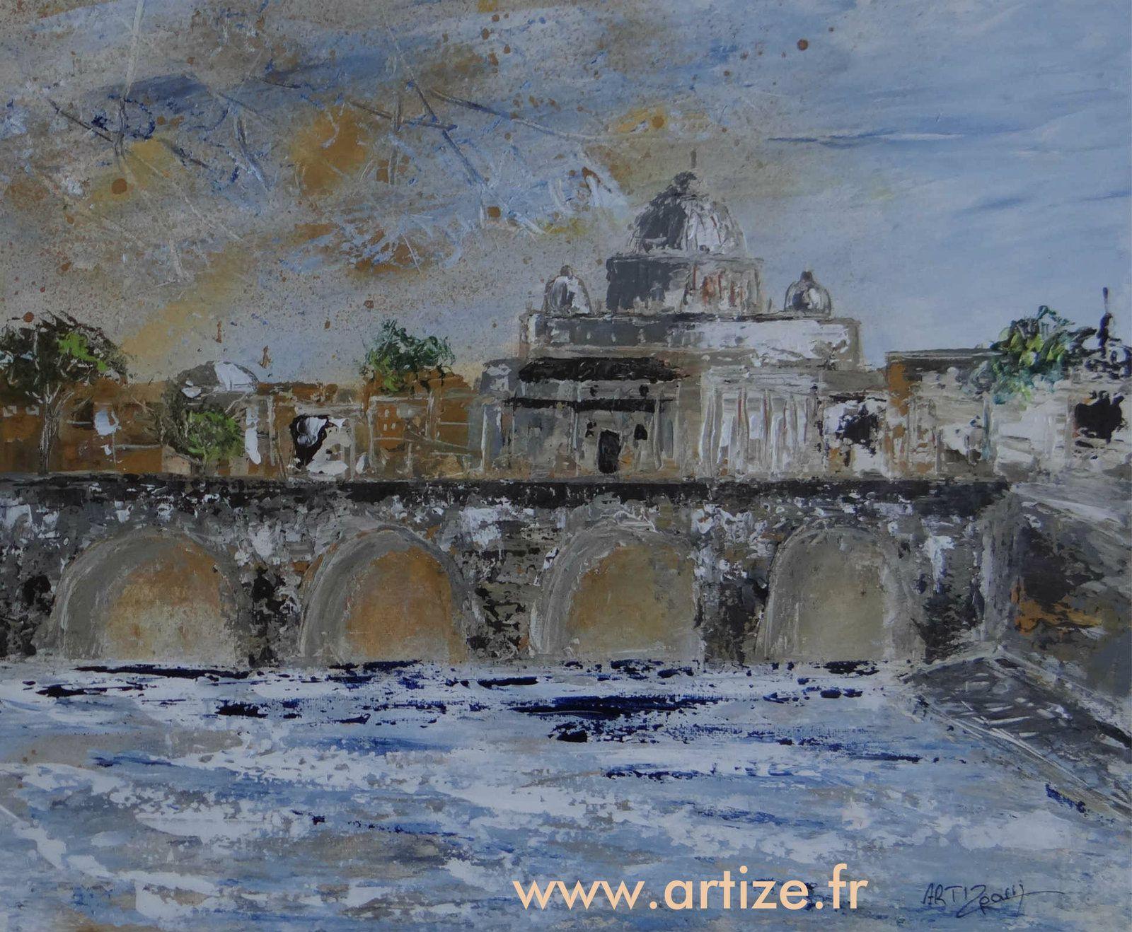 La Basilique Saint-Pierre, peinture acrylique sur toile, 38x46 8F
