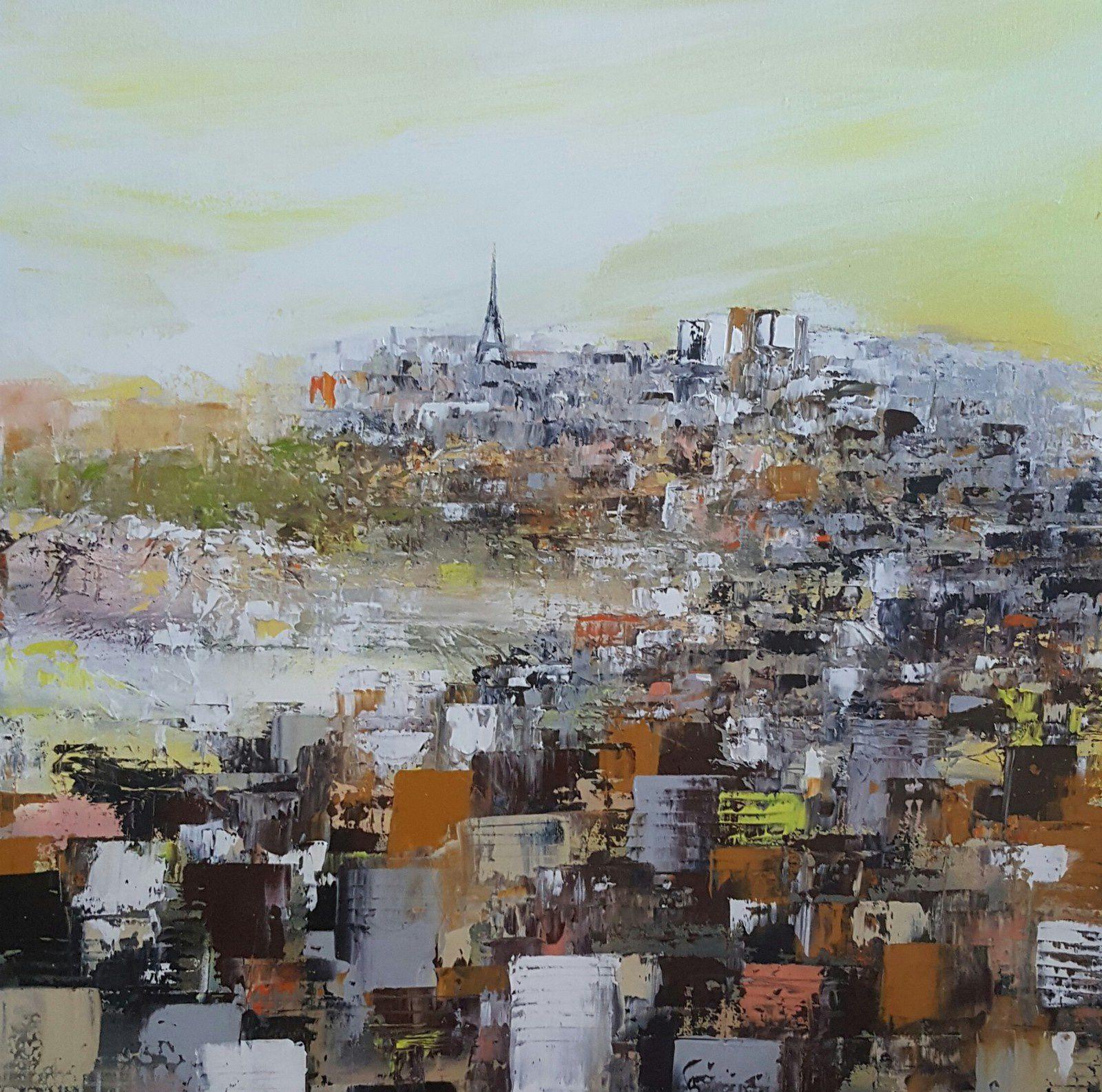 Vue de Paris, huile sur toile, format 50x50 DISPONIBLE