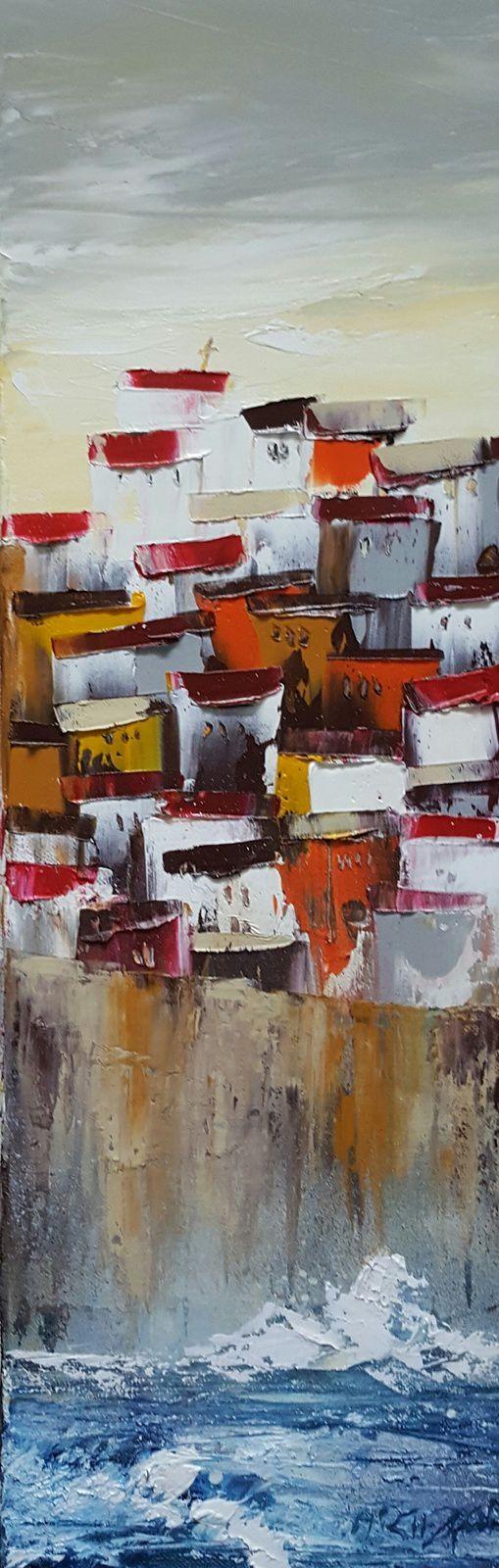 Soir d'orage, huile sur toile, format 20x60, vendu