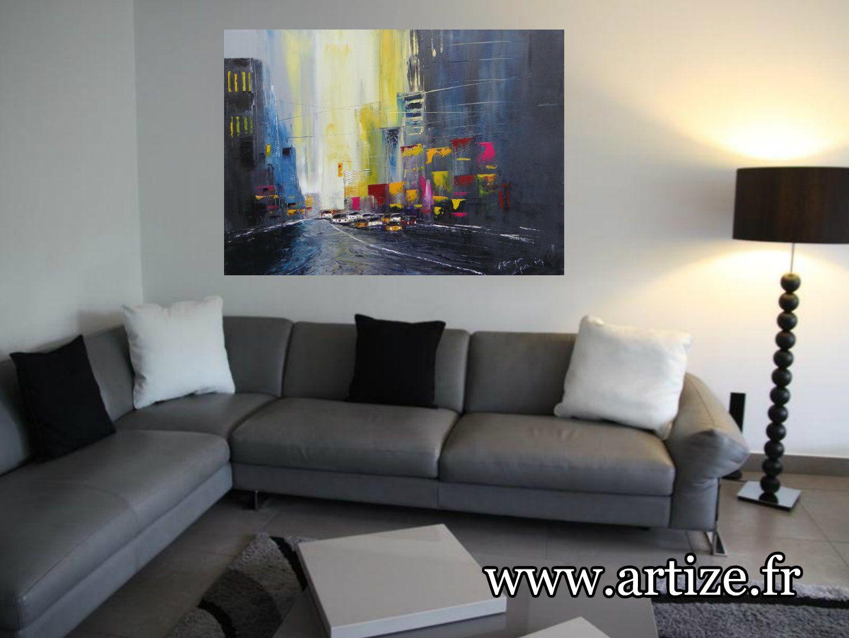 Dans les lumière de la ville, huile sur toile, format 81x65, vendu