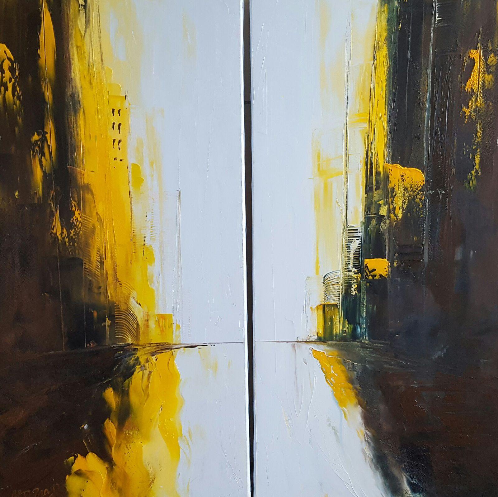 """""""Double sens, huile sur toile, format : 40x80x2, disponible"""