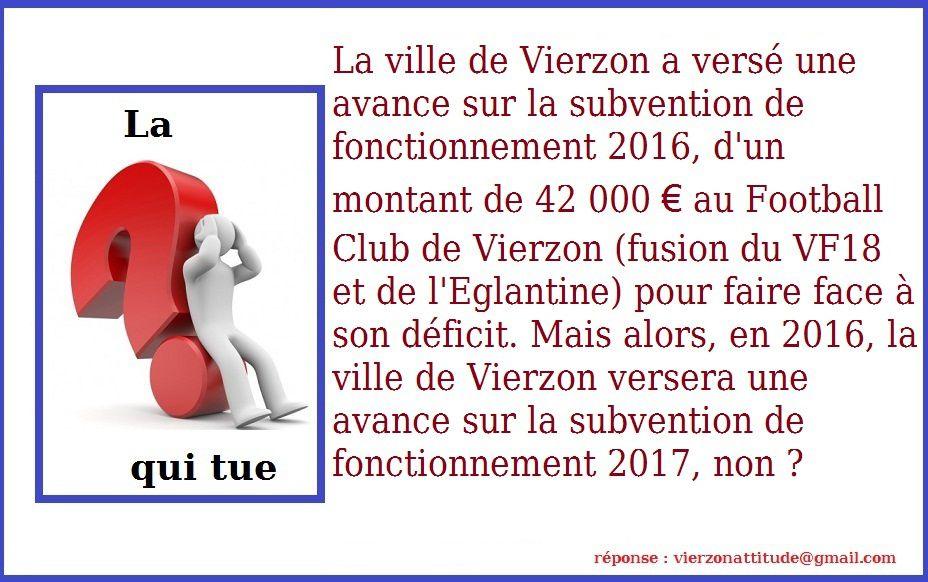 Vierzon football club : après l'avance 2015 pour 2016, voici l'avance 2016 pour 2017 !