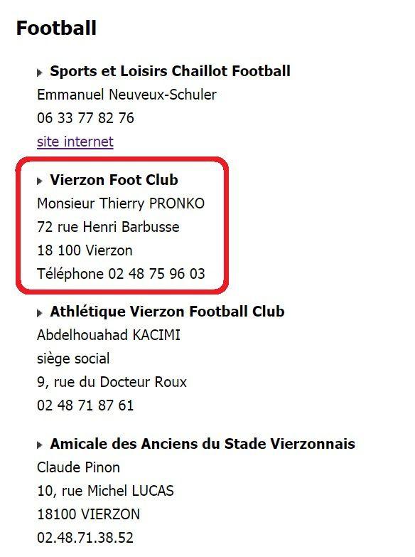 Le Vierzon football club devient le Vierzon foot club, fusionné mais raccourci sur le site de la ville