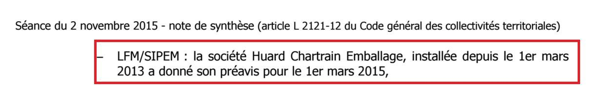 Huard-Chartrain : deux pauvres lignes dans le prochain conseil municipal