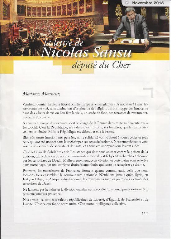 La lettre du député.