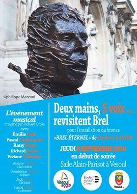 Un concert en hommage à Jacques Brel à Vesoul Rendez-vous jeudi 8 septembre en début de soirée, à la salle Alain-Parisot.