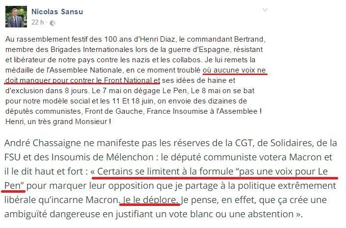 Pas besoin deocmmentaire. Juste pour rappeler, André Chassaigne, président du groupe Front de gauche à l'Assemblée nationale.