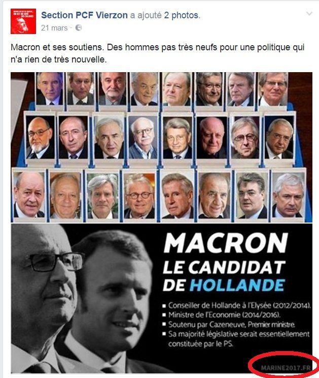 Le PCF de Vierzon utilise un tract anti-Macron du F.N.sur sa page Facebook