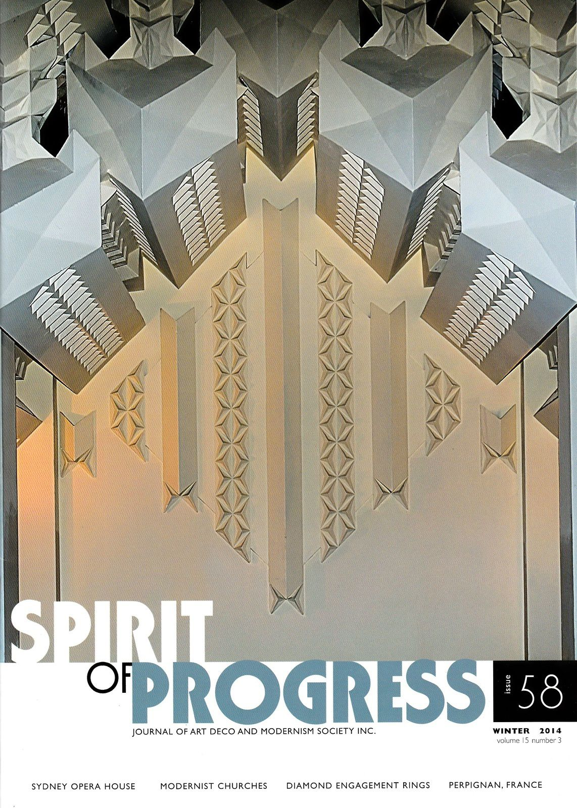 Interview et photos pour le magazine australien Spirit of Progress (Robin Grow) de l'Art Deco & Modernism Society de Melbourne