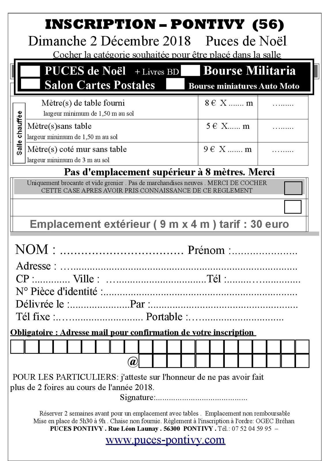 Calendrier Troc Et Puces 56.Bulletin D Inscription Pour Le Troc Puces Ecole Notre Dame
