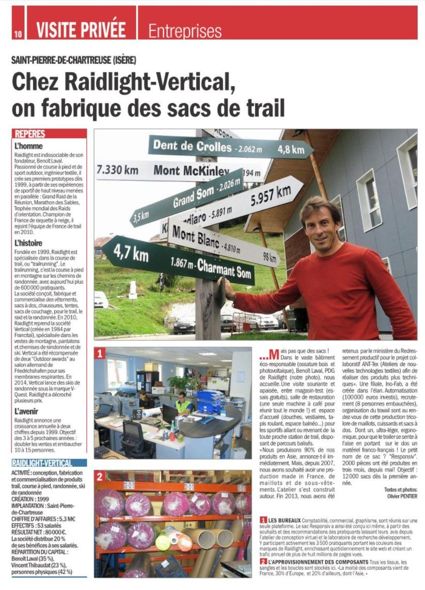 INO-FAB, la filiale Made in France de Raidlight, au 19/20 de France 3, et 2 pages dans le Dauphiné Libéré Entreprise