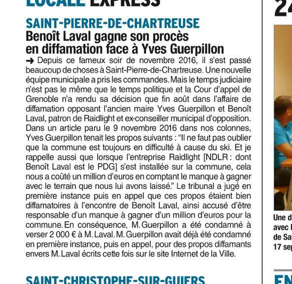On parle de Monsieur Guerpillon sur le Dauphiné Libéré