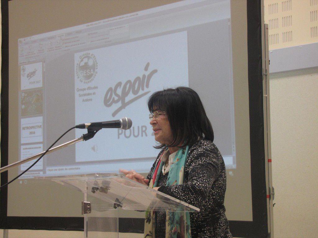 (Mme Renée SOUM, 1ère femme à avoir été élue députée dans les P-O, présidente-fondatrice du GESA).