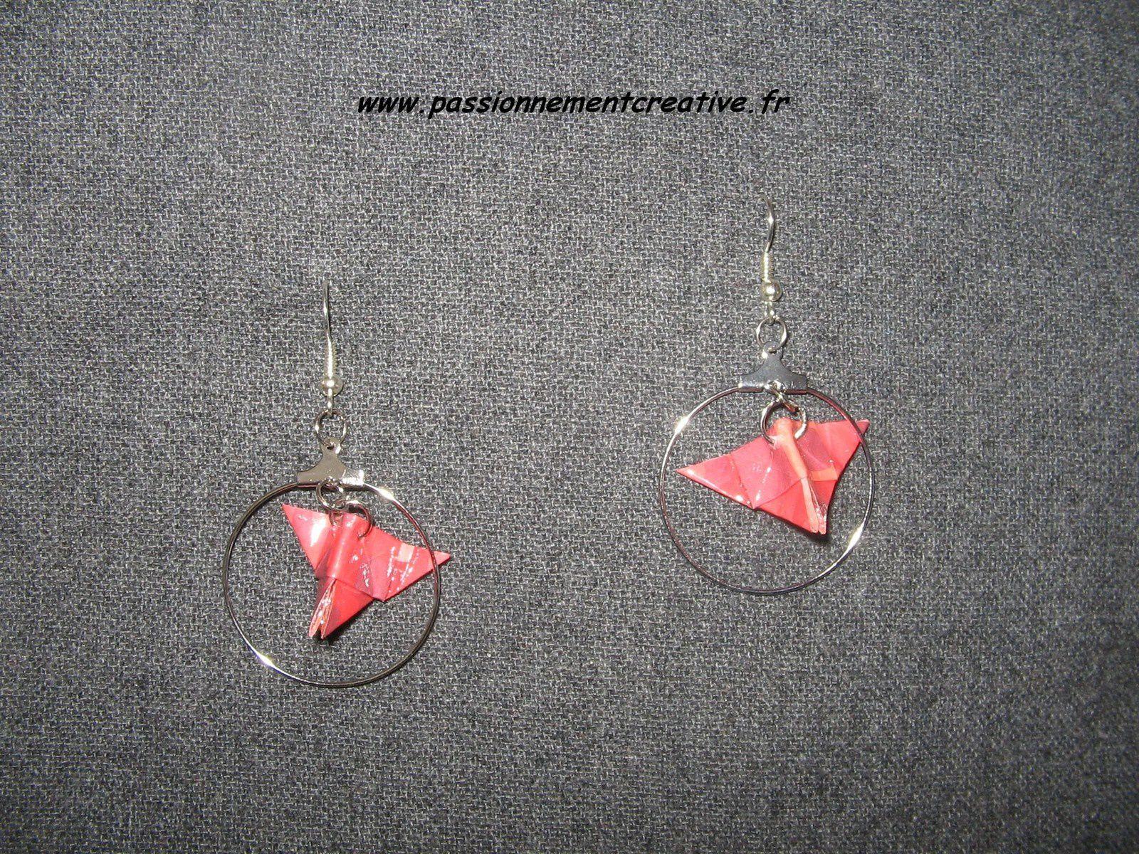 Boucles d'oreilles origami Mini papillons
