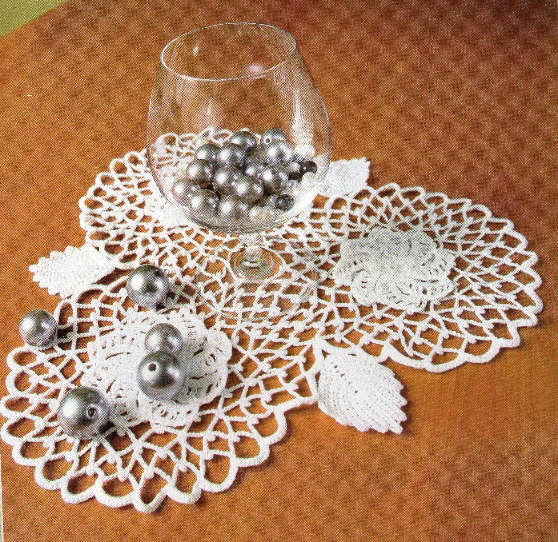 Tutoriel au crochet - Napperon fleurs et feuille au crochet