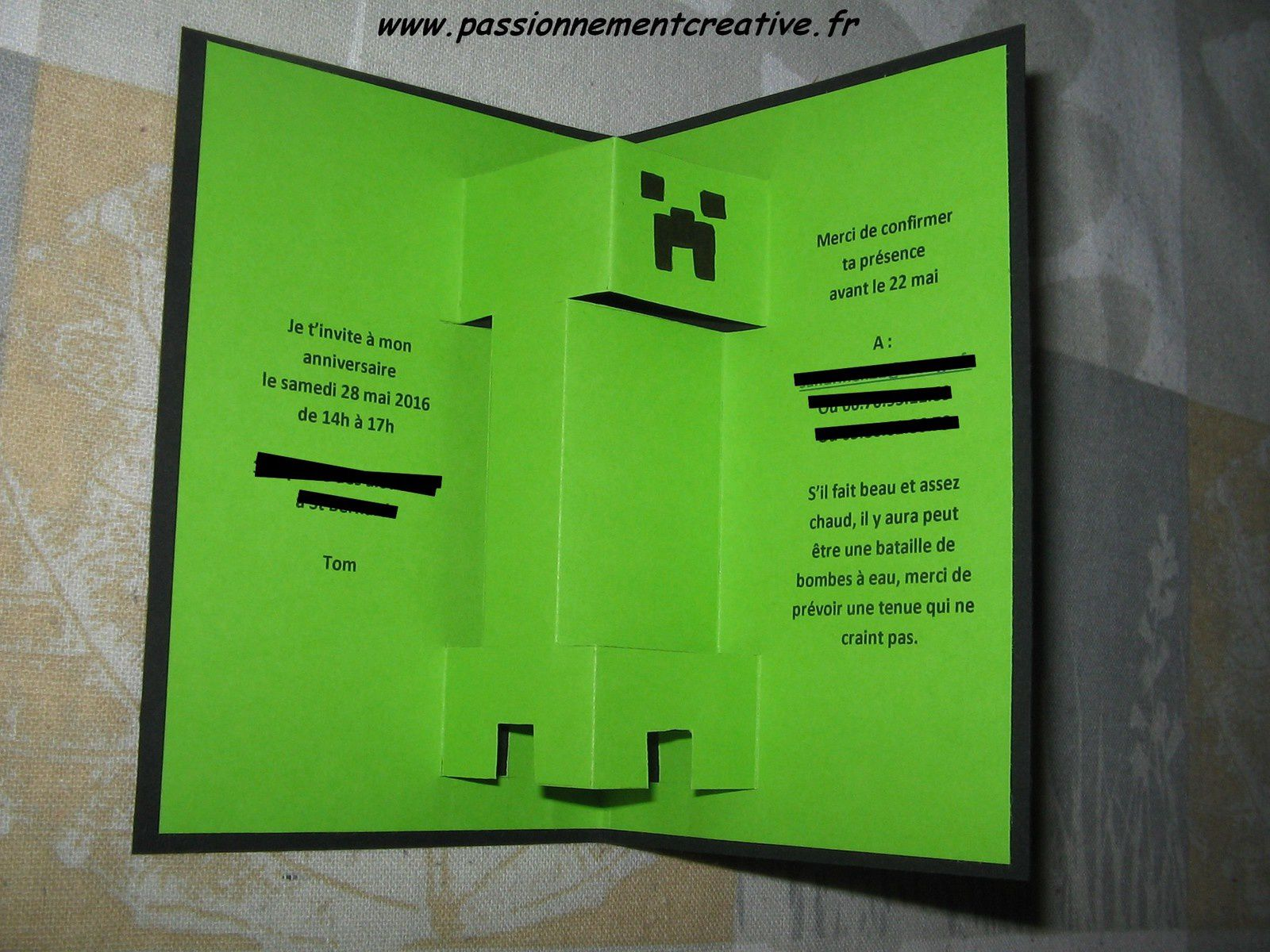 Invitations anniversaire Minecraft