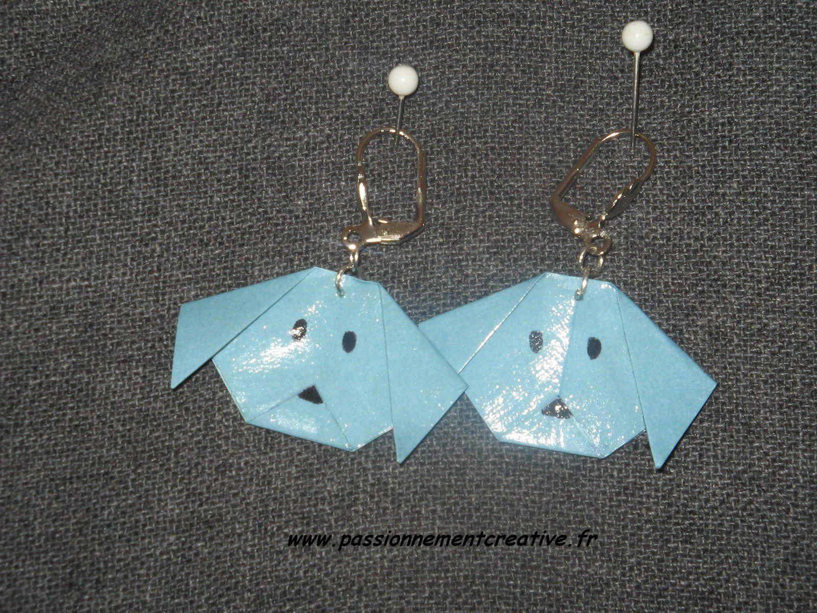 Boucles d'oreilles Chien en origami