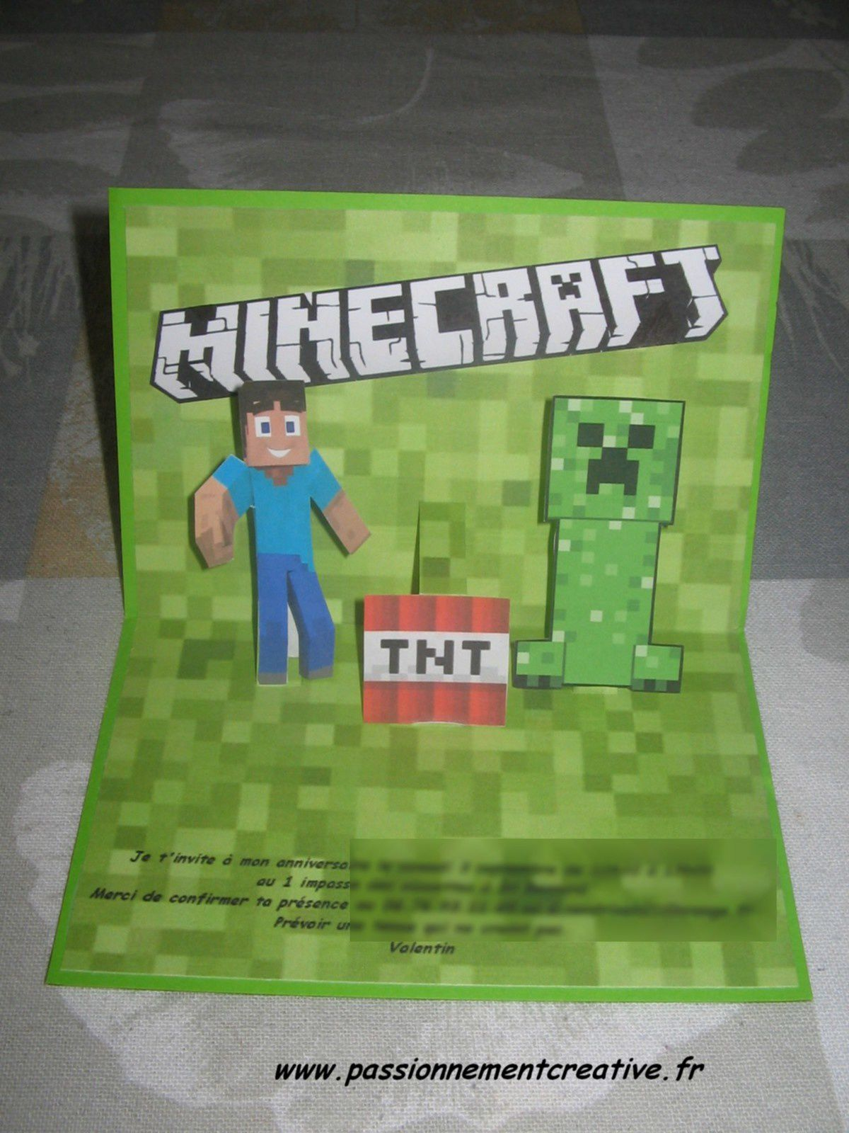 Carte invitation Minecraft