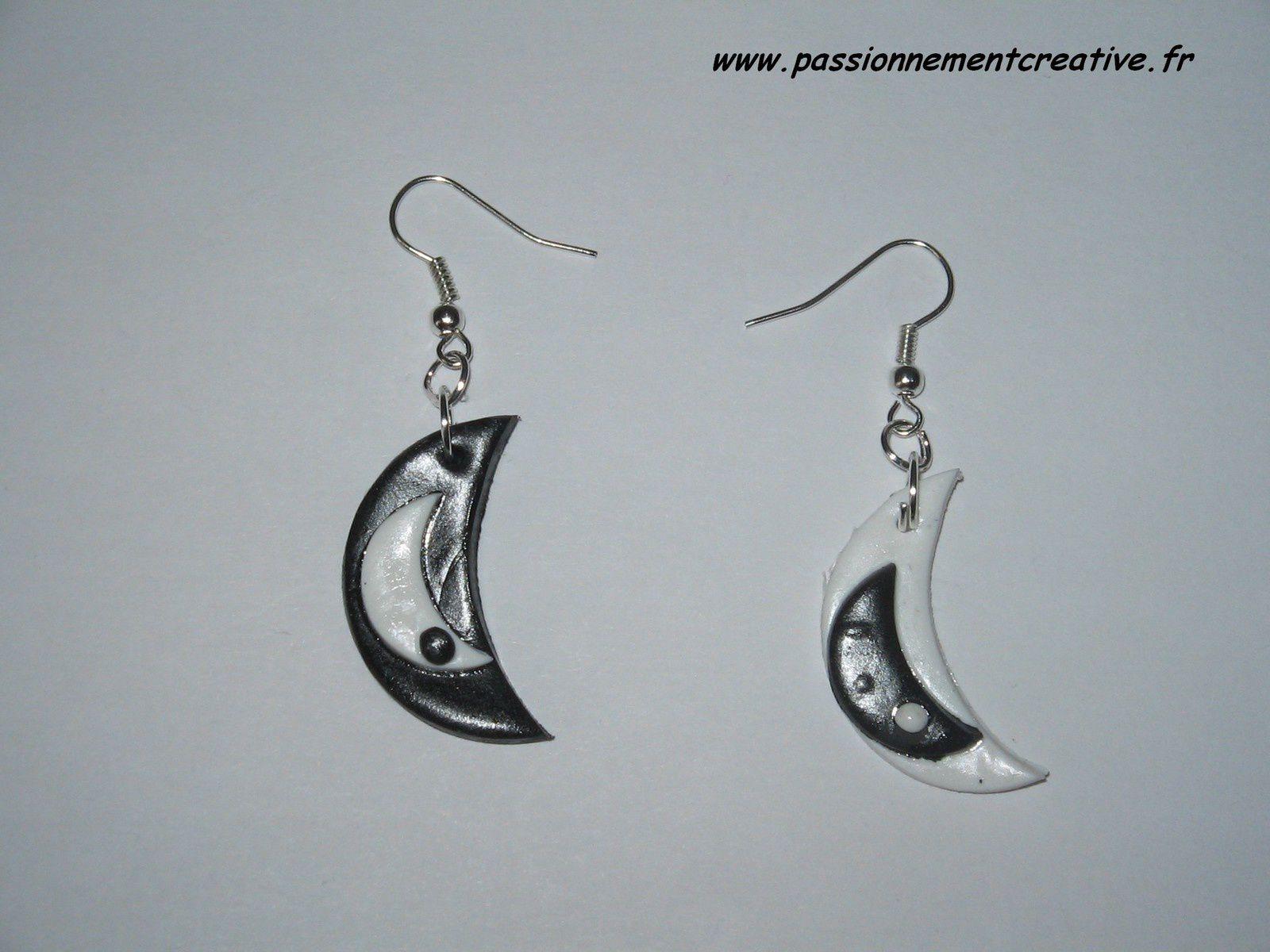 Boucles d'oreilles Lune en fimo