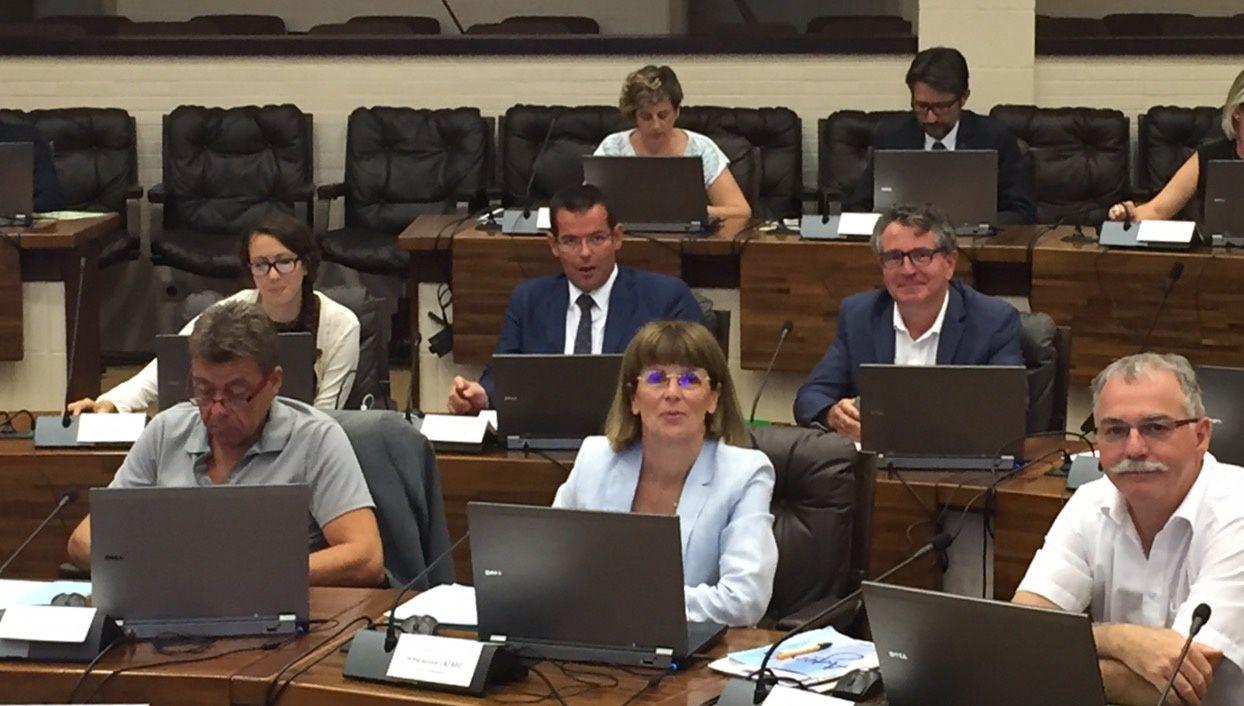 Sébastien David et Emilie Gral, dans l'hémicycle départemental, aux côtés de leurs collègues.