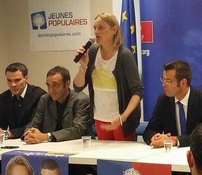 Louis Videira, Responsable des Jeunes Populaires de l'Aveyron, Arnaud Viala, délégué de la 3eme circonscription, Nathalie Auguy-Périé, et Sébastien David