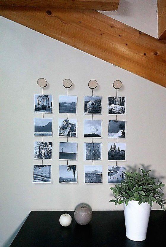 de magnifiques photos mise en lumière grâce à son support : rondelles de bois au mur et cordelette. https://www.etsy.com/fr/shop/lecoindubois