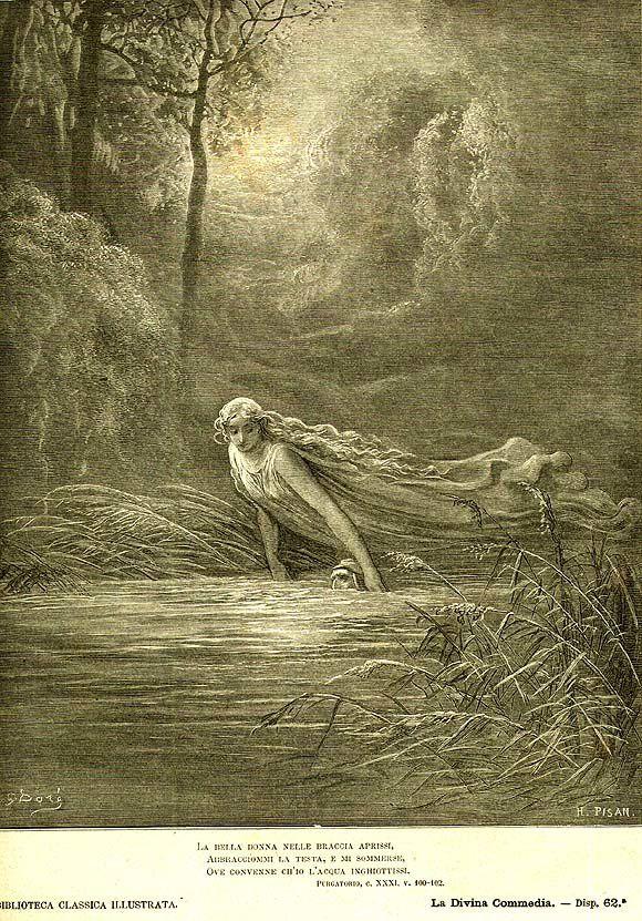 Gustave Doré - Mathilde (Immersion dans le Léthé) - Illustration de la Divine Comédie de Dante