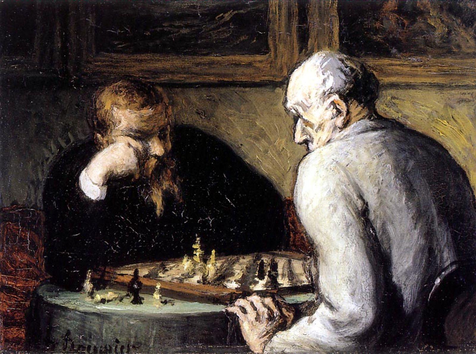 Les joueurs d'échecs - Huile de Honoré Daumier (1808-1879)