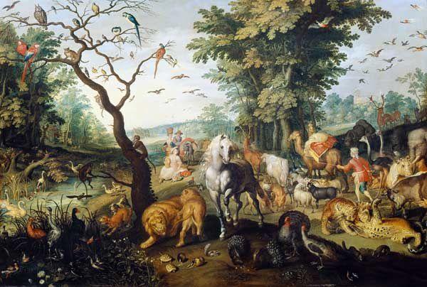 L'entrée des animaux dans l'Arche de Noé, huile sur toile, Jan Brueghel l'Ancien (1568-1625) - (source : http://www.repro-tableaux.com)