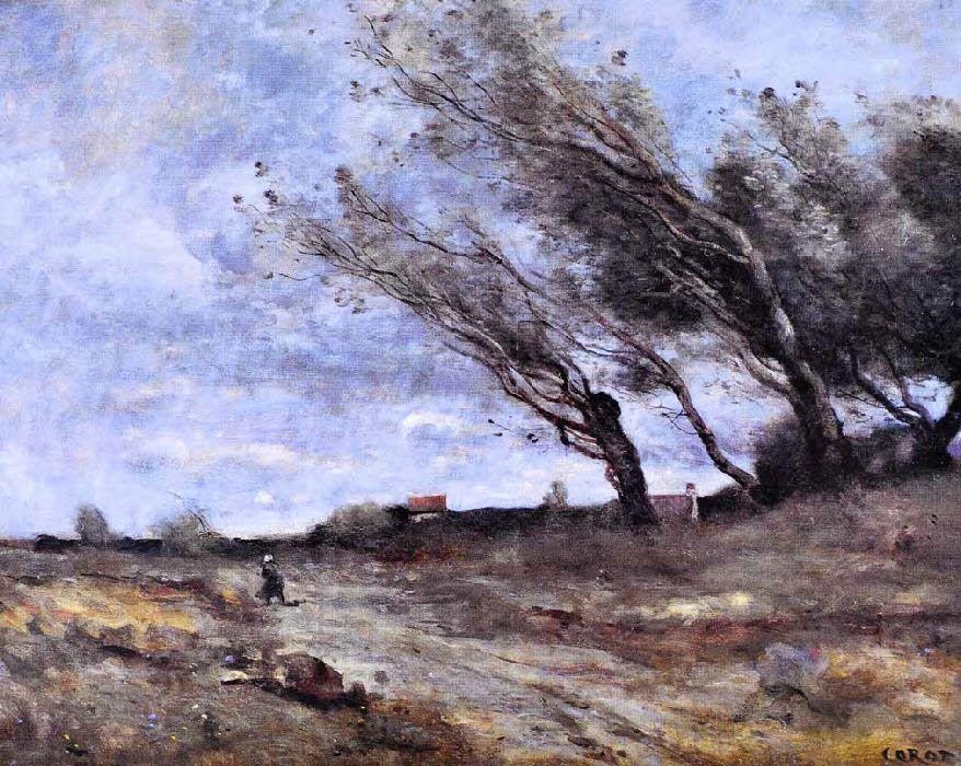 Le Coup de vent, Huile sur toile, Camille Corot, 1870