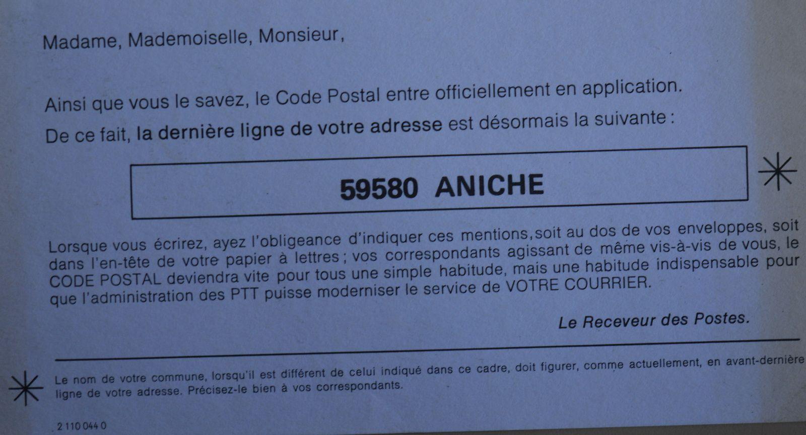 Annonce de la mise en application du code postal d'Aniche par l'administration des PTT ( Postes, Télégraphes et Téléphones), 1972.