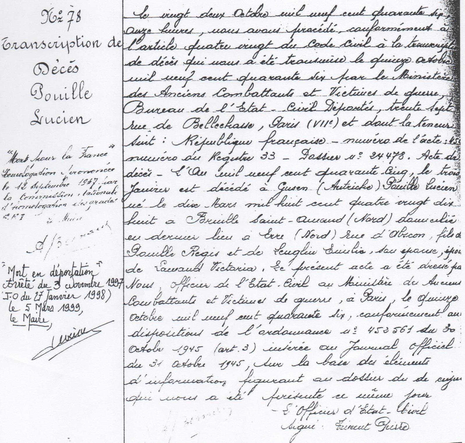 """Transcription de décès de Lucien Pouille rappelant dans la marge l'homologation """"mort pour la France"""" et """"mort en déportation""""."""