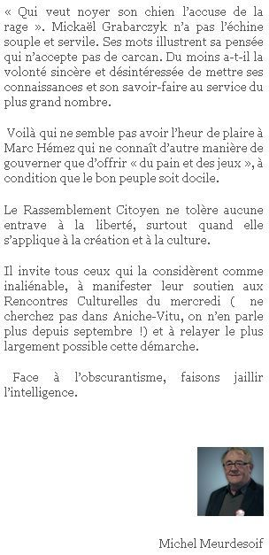Site du Rassemblement citoyen - Rassemblons Aniche.fr - Mardi 8 décembre 2015.