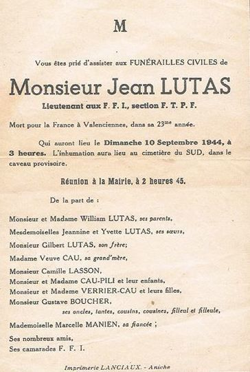 Jean Lutas (1922-1944), martyr anichois