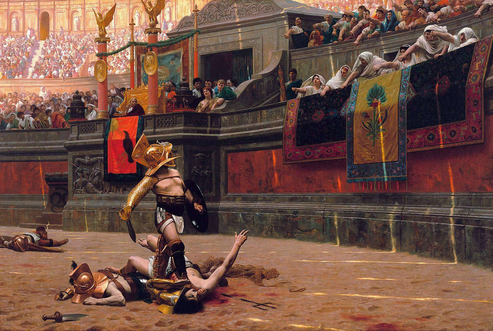 """Jean-Léon Gérôme, """"Pollice verso"""", 1872, huile sur toile, 100.3 x 148 cm, Phoenix Art Museum, Etats-Unis."""