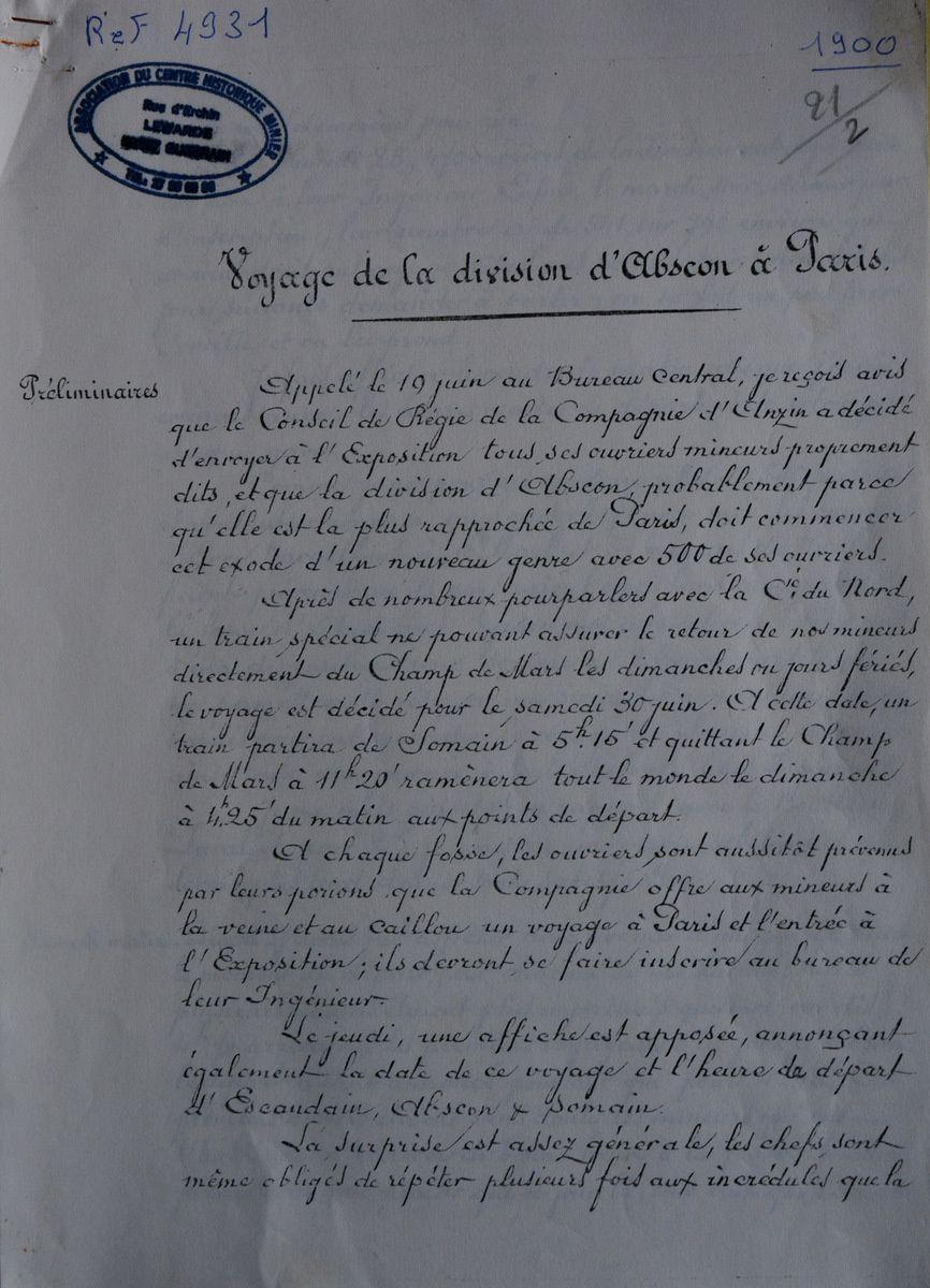 500 mineurs d'Abscon à Paris en 1900 !