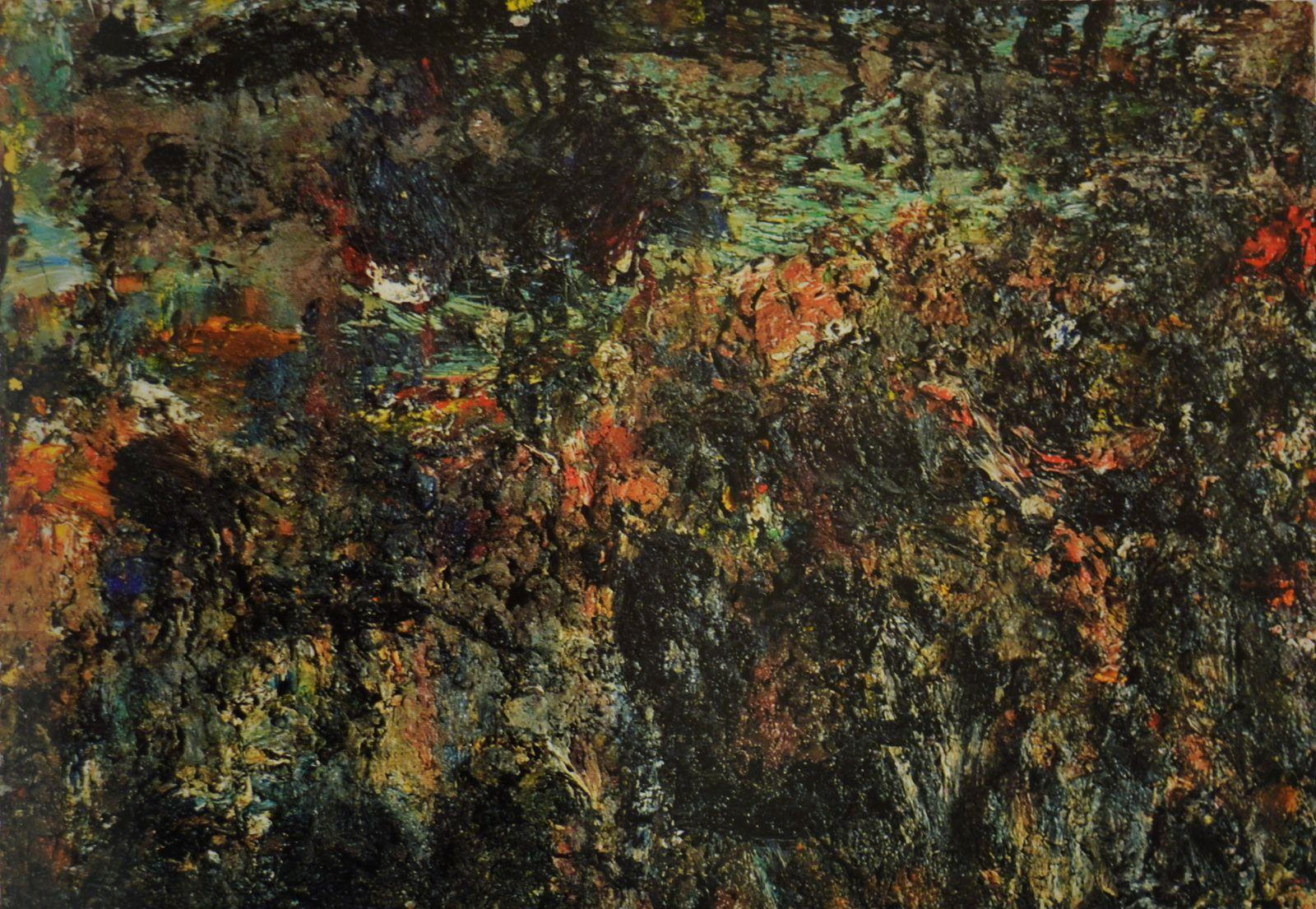 """Eugène Leroy, """"Paysage"""", huile sur toile, 50 x 73 cm., 1995."""