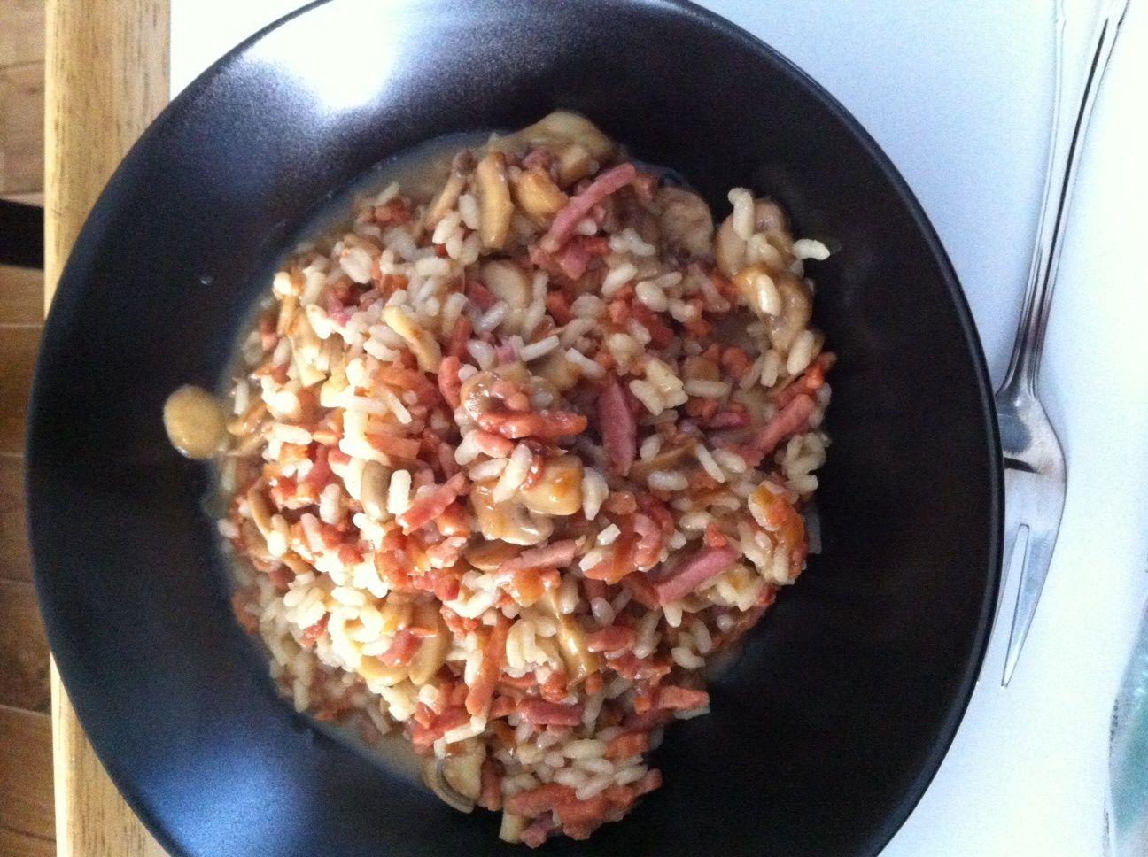 cuisine: risotto aux champignons et bacon