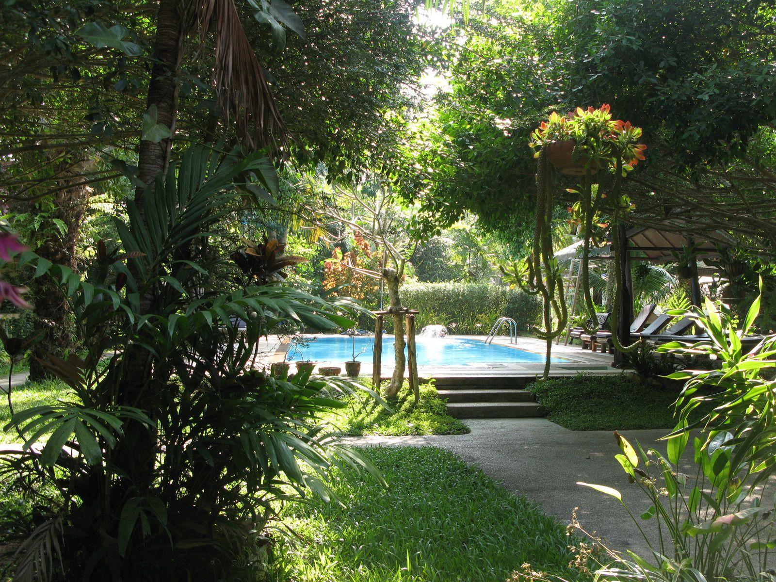la piscine et le jardin depuis la terrasse du restaurant