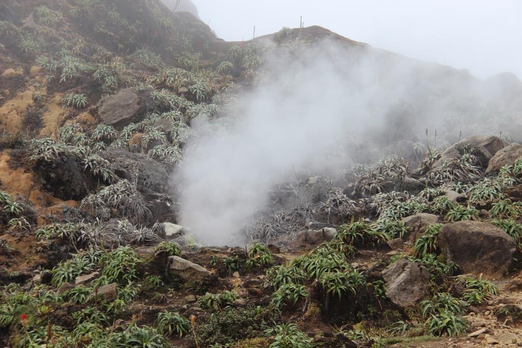 Quelques fumerolles au sommet de La Soufrière