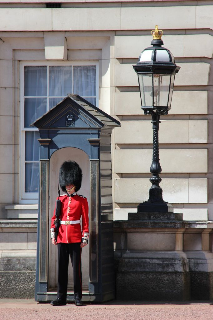Un garde de Buckingham Palace impassible
