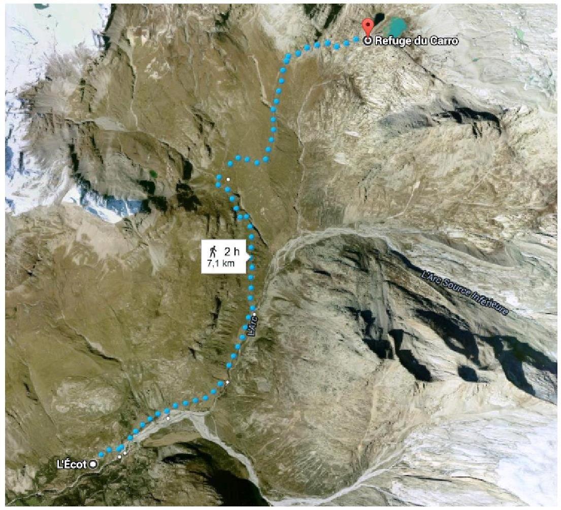 Carte de la randonnée entre le village de l'Ecot et le Refuge du Carro