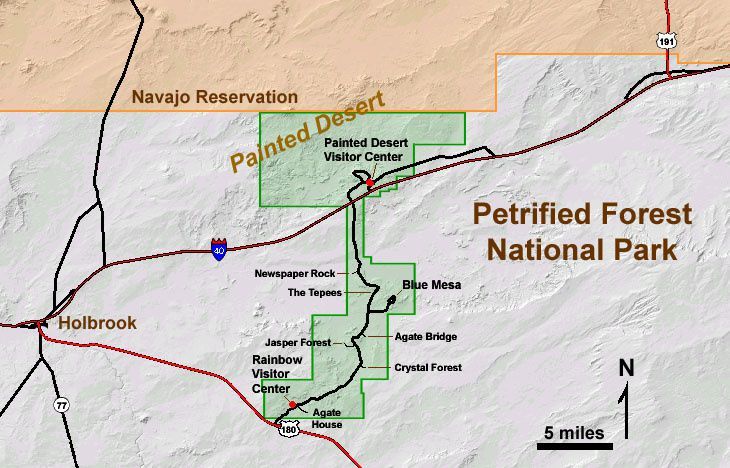 Plan de Petrified Forest NP et Painted Desert