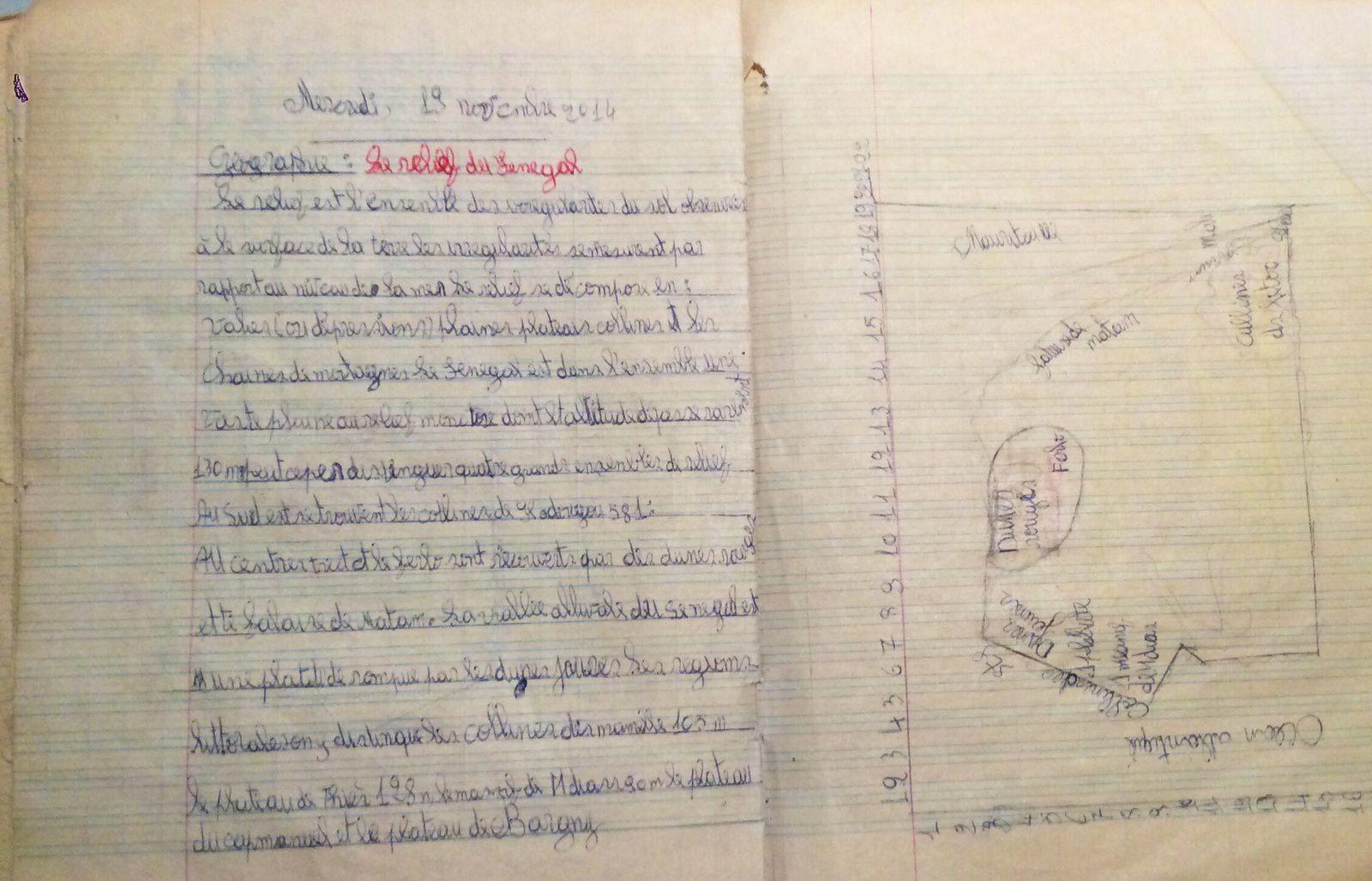 Cahiers scolaires de jeunes koungheulais.