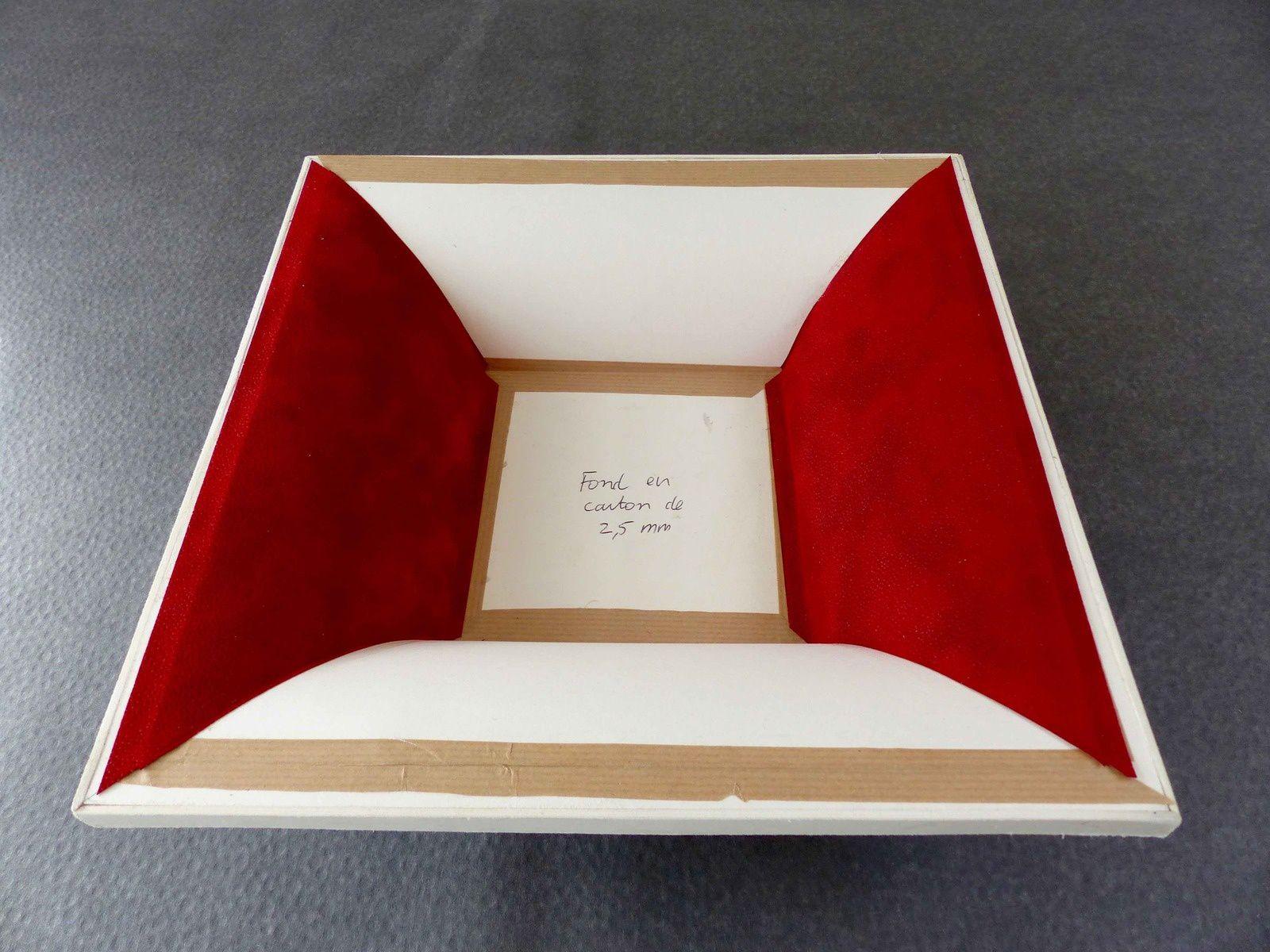l'habillage des pentes se fait en face à face en laissant dépasser 1mm dans chaque angle puis les papiers des 2 autres pentes sont  rembordées avant pose.