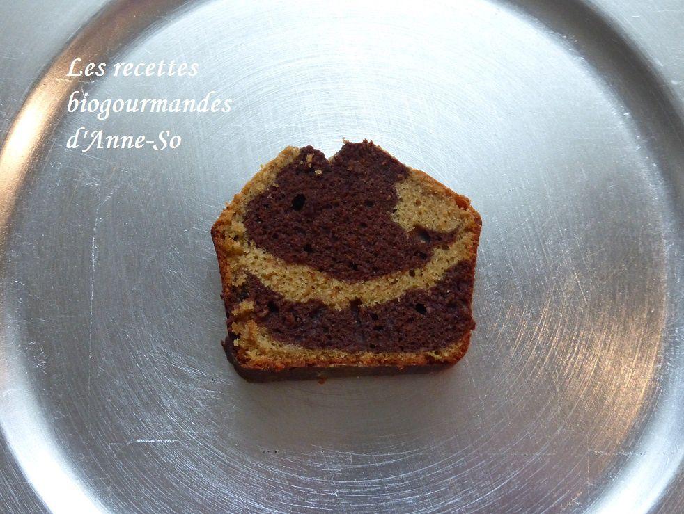 CAKE MARBRE AU CHOCOLAT A LA FARINE DE RIZ ET SUCRE COMPLET