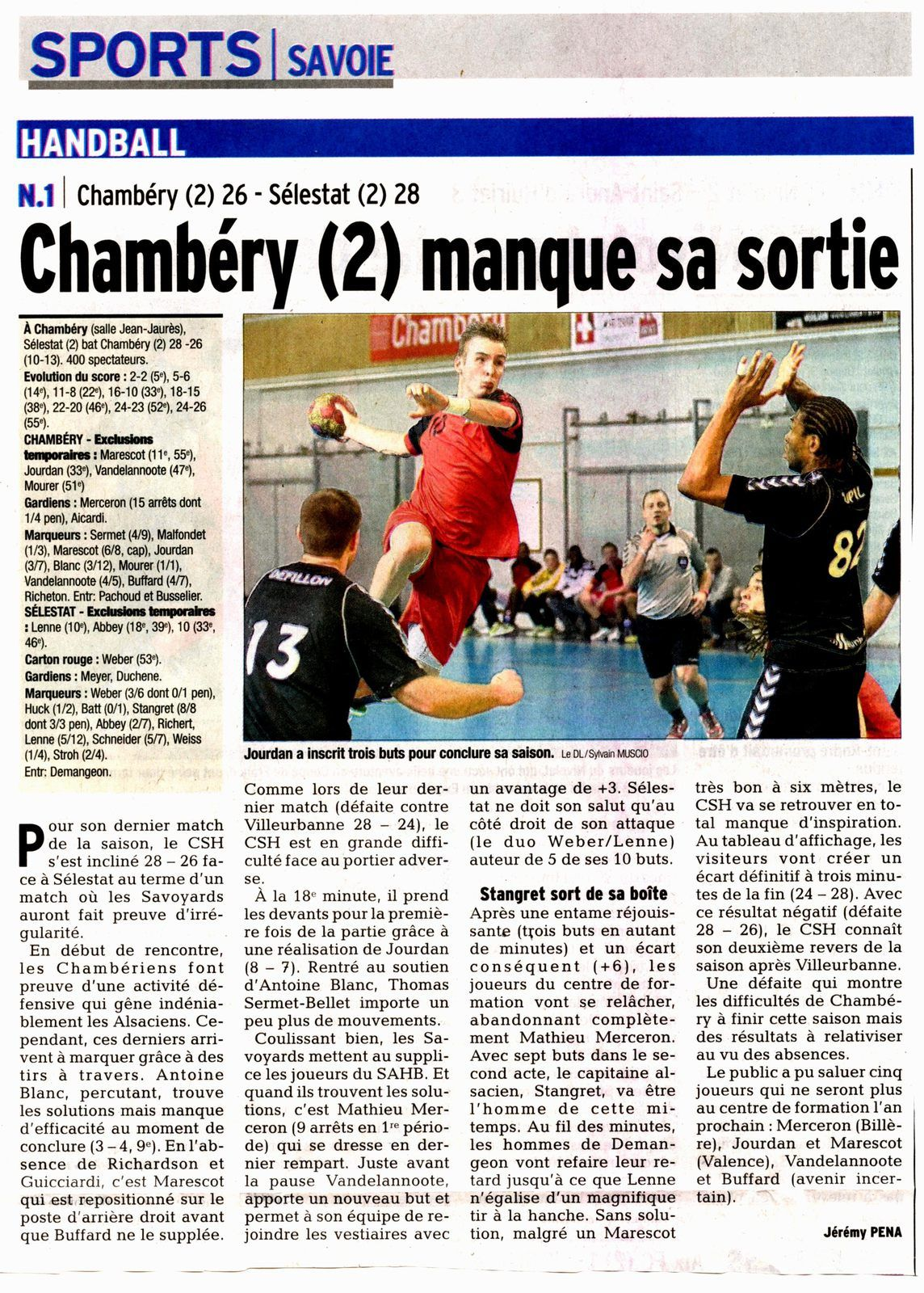 N1 Article sur le match CHAMBERY2 - SELESTAT2