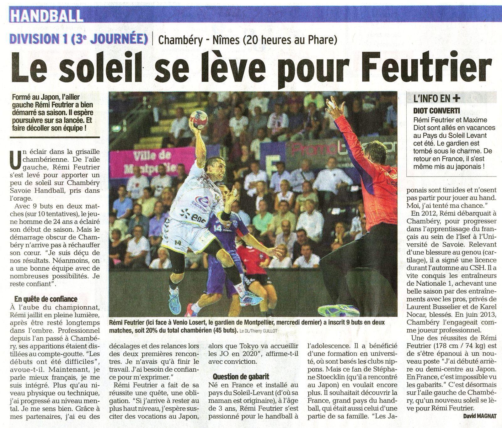Dauphiné Libéré du jeudi 25 09 D1 CHAMBERY NÎMES avant match / David Magnat