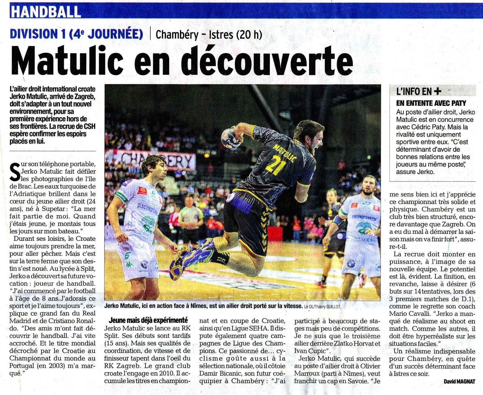 DL article D1 CHAMBERY - ISTRES avant match 01 10 2014