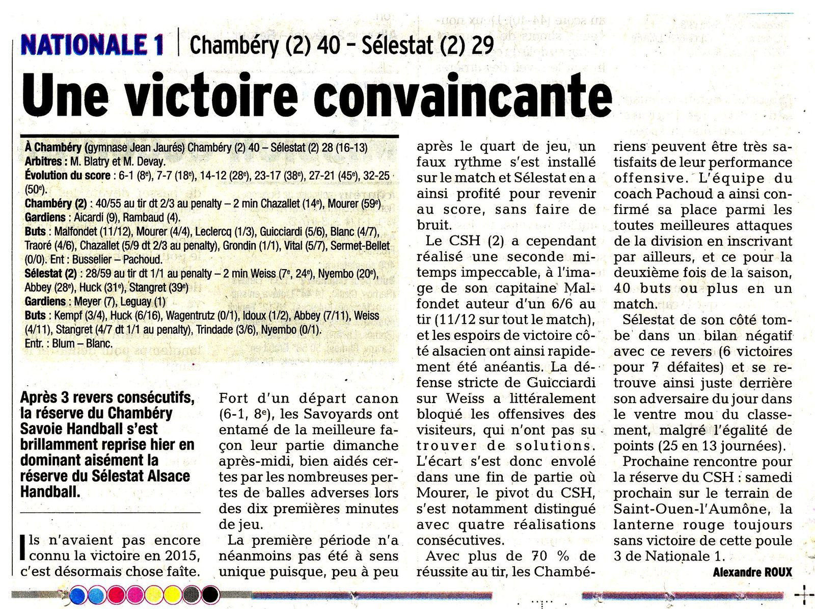 N1 article DL CHAMBERY2 - SELESTAT 2